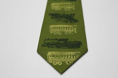 Railroad - Locomotive - Train - Green - Vintage Neck Tie!