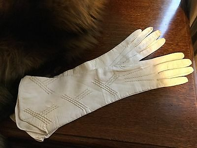 Original 1910 - 1920s Hayfords Ladies Soft Kid Leather Gloves Ivory Art Deco 6.5