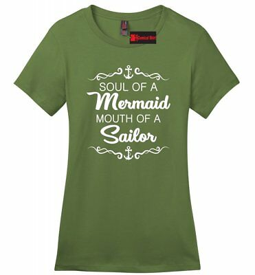 Soul Mermaid Mouth Sailor Funny Ladies Soft T Shirt Cute Rude Graphic Tee Z4