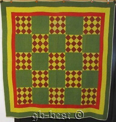 "PA Farmhouse c 1870s Checkerboard Antique QUILT Green Mustard 78"" x 74"""