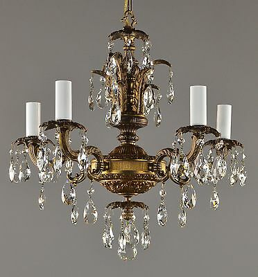 Brass & Crystal Regency Chandelier c1960 Vintage Antique French Style Ceiling