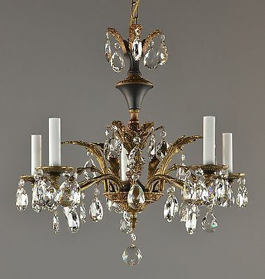 Bronze, Tole & Crystal Chandelier c1950 Vintage Antique French Style Ceiling