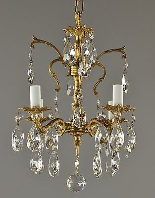 Small Spanish Brass & Crystal Chandelier c1950 Vintage Antique French Style