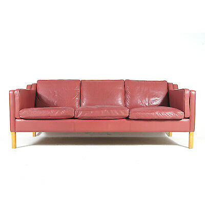 Retro Vintage Danish Stouby Large 3 Seat Seater Leather Sofa 70s Scandinavian