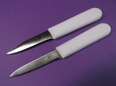 Restaurant Kitchen Set of (2) Paring Knives White Sani Handle New Pro Commercial