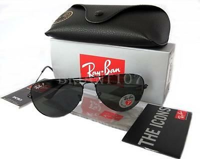 NWT Unisex Polarized Sunglasses Ray-Ban RB3025  002/58 Black/Green 58mm