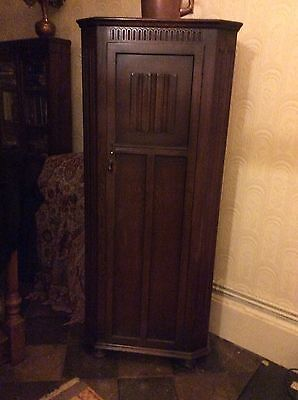 Vintage Priory linenfold carved oak small single door wardrobe hall robe