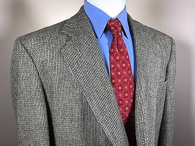 EUC Haggar Tweed Gray Beige 2 Button Sport Coat Blazer Mens 48R Vented
