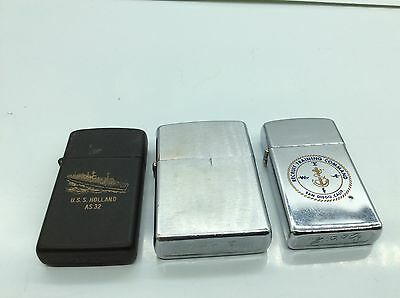 Lot of-3- vintage Zippo lighters military