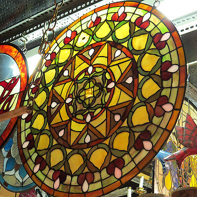 stained glass window, circle  window 24 inches diameter