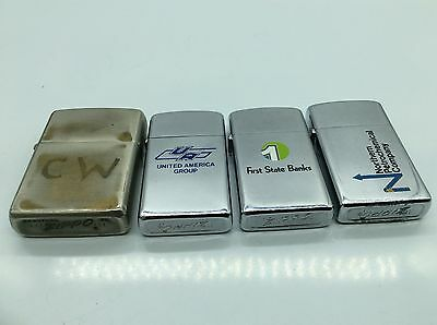 Lot of-4- vintage Zippo lighters Advertising