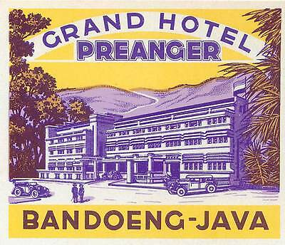 Badoeng Java Indonesia Grand Hotel Preanger Gorgeous Old Art Deco Luggage Label
