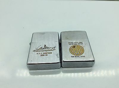 Lot of-2- vintage Zippo lighters military advertising