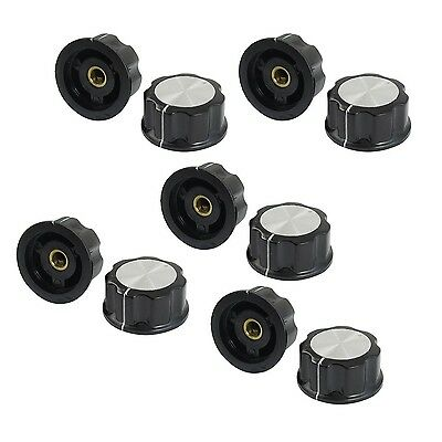 10 Pcs Black Silver Tone 30mm Top Rotary Knobs for 6mm Dia. Shaft Potentiometer