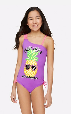 NWT JUSTICE Girls Pineapple One Piece Swimsuit Swim Sz 20 Purple Pink