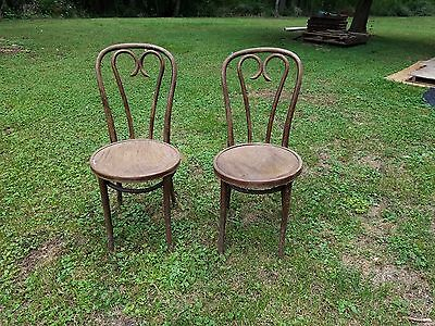 ZPM Radomsko Thonet Bentwood Ice Cream Parlor Set of Two Chairs