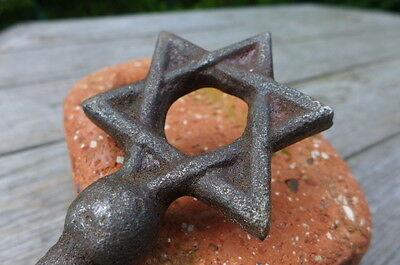 Antique Very Large Key with The Star of David, Synagogue, Castle, Church, Rare