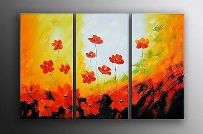 Framed abstract flowers oil painting on canvas Read to be hung