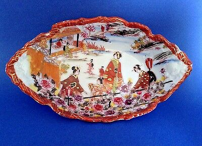 Nippon Oval Candy Trinket Dish - Embossed And Hand Painted With Gilding - Signed