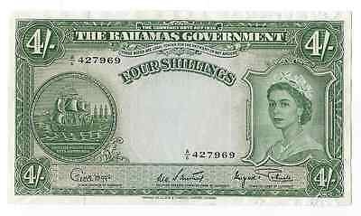 1936 Early Bahamas 4 Shillings UNC Details Note