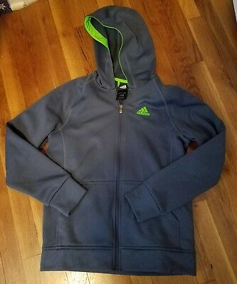Boy's Adidas Activewear Hooded Jacket Gray and Green Size L Large