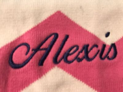 New Pottery Barn Kids Pink White Chevron Baby Stroller Blanket monogram  Alexis