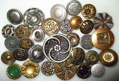Lot 31 Antique & Vintage Mixed Metal Buttons - All Flowers