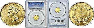 1856 $1 Gold Coin PCGS MS-64 Slanted 5