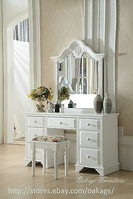 Elle 7drawers Dressing table and  mirror and stool ivory white