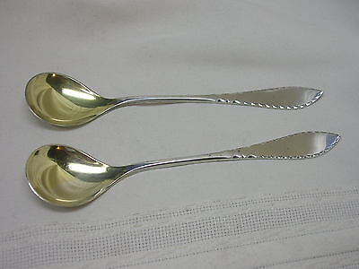 2 Antique David-Andersen Norway 830 Sterling Silver Condiment Spoons Gold Wash