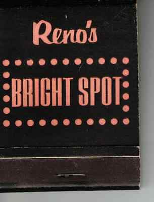 Vintage RENO'S BRIGHT SPOT, Where the Jackpots are, NV Front Strike Matchbook
