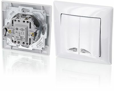 Up 2Compartment/Two-Way Switch with LED LightingAll-in-oneFrame with Flush-Mo...