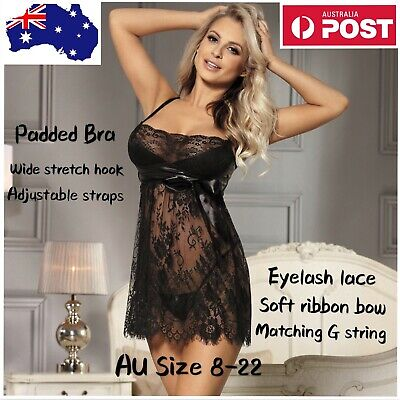 Babydoll Sexy Black Eyelash Trim Lace Padded 2Pc Lingerie Set - Plus Size 8-22
