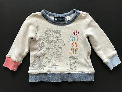 BABY GAP Peanuts Sweater All Eyes On Me Size 12-18 Months