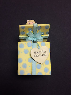 """""""Precious Moments"""" 1999 Girl 'Thank You Sew Much!' Covered Trinket Box - Used"""