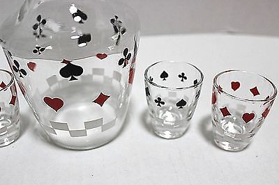 VINTAGE & UNIQUE DECANTER GLASSES BAR WARE WITH PLAYING CARD DESIGN 1930-40's