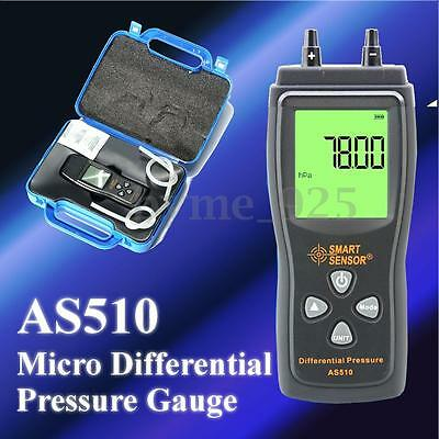 AS510 Handheld Digital Manometer Micro Differential Pressure Meter Gauge Kit