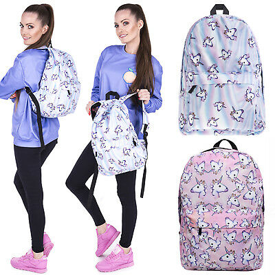 Womens 3D Unicorn Backpack Rainbow School Bag Travel Girls Book Rucksack Satchel
