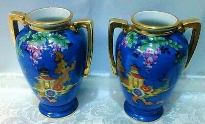 PAIR OF NORITAKE  Blue Vases (2)  Hand Painted  13cm or 5 inches High   VGC