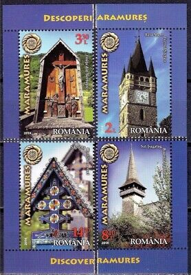 Romania 2014 Maramures Region/Tourism Stefan's Tower/Church/Clock/Cross 4v MNH