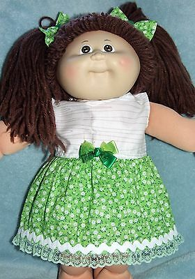 "CABBAGE PATCH 16"" Dolls Clothes / Dress~Bloomers~Hair Bows / Green~White Flowers"