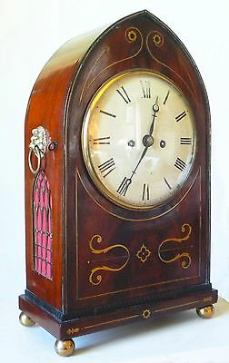 Handsome Double Fusee Regency Bracket Mantel Clock, Inlaid Lancet Case, Serviced