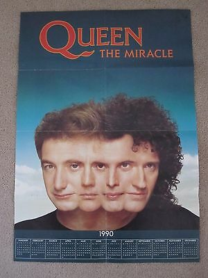 Queen  :  The Miracle 1990 Fan Club Calendar / Poster - Mint Condition