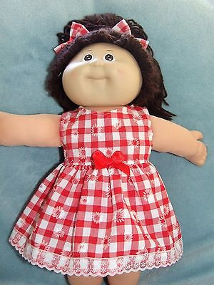 "CABBAGE PATCH 16"" Dolls Clothes / Dress~Bloomers~Hair Bows / Red and white check"