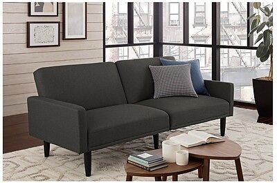 Linen Futon Couch Sofa And Amp Bed With Arms Gray Original Room Essentials