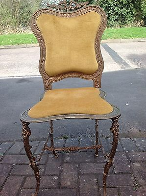 Antique Victorian French Ornate Cast Metal Ribbon & Bow Gold Velvet Side Chair