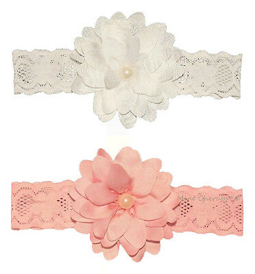 Baby Girls White or Pink Lace Headband With Flower Pearl Bead Trim SMALL NEWBORN