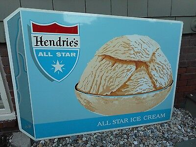 VINTAGE ORIG HUGE 1960s HENDRIE'S ALL STAR ICE CREAM METAL TIN SIGN RED SOX YAZ