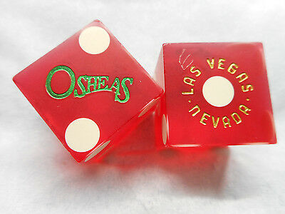 Pair of Closed OSHEAS LV Casino Dice - Matte Red, #s 1234