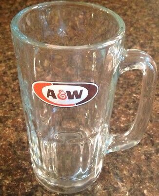 """VINTAGE  A & W ROOT BEER MUG Heavy Clear Glass Big 7"""" Tall  Excellent Condition"""